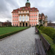 Stock Photo: Ksiaz castle and bench