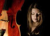 Cello and girl — Stock Photo