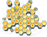 Social Media Bee Hive — Vector de stock
