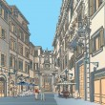 place de la ville européenne architecture baroque — Vecteur