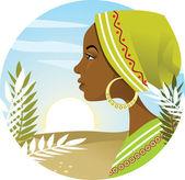 Mujer africana — Vector de stock