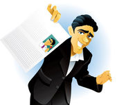 Vector illustration of a man showing off his curriculum vitae — Stock Vector
