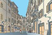 European town square Baroque architecture — Stock Vector