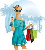 Vacation Shopping — Vector de stock