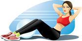 Woman Exercising Abs — Stock Vector