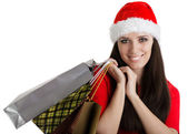 Christmas Girl Carrying Shopping Bags — Стоковое фото