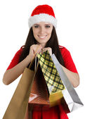 Christmas Girl Holding Shopping Bags — Стоковое фото