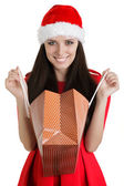 Christmas Girl with Open Shopping Bag — Stock Photo