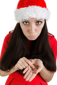 Christmas Girl with Not Enough Money — Stock Photo