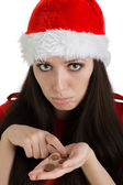 Christmas Girl with Coins — Stock Photo