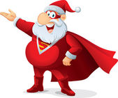 Super Santa - Vector Cartoon — Stock Vector