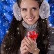 Winter Girl with Small Gift Box — Stock Photo