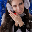 Winter Girl with Small Gift Box — Stock Photo #35214141