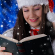 Christmas Girl Reading — Stock Photo