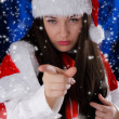 Christmas Girl Pointing  — Stock Photo