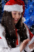 Christmas Girl with Smart Phone — Stok fotoğraf