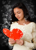 Girl Reading Valentines Day Card — Stock Photo