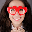 Girl with Heart-Shaped Glasses — Stock Photo #39469167