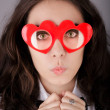 Girl with Heart-Shaped Glasses — Stock Photo