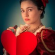 Princess Portrait with Heart Shaped Card — Stock Photo