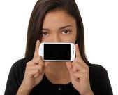 Girl Showing Smart Phone Screen — Stock Photo