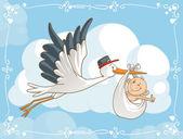 Stork with Baby Vector Cartoon — Stock Vector