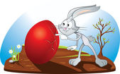 Curious Easter Bunny Vector Cartoon — Stock Vector