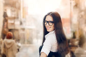 Young Woman with Glasses Out in the City — Stock Photo