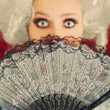 Surprised Baroque Woman Portrait with Wig and Fan — Stock Photo