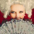 Beautiful Baroque Woman Portrait with Wig and Fan — Stock Photo #44461253