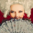 Beautiful Baroque Woman Portrait with Wig and Fan — Stock Photo