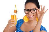Smart Girl with Orange Juice and Orange Slice Earrings White Background — Stock Photo