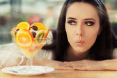 Young Woman with Fruit Salad Dessert — Stock Photo