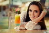 Young Woman with Colorful Cocktail Drink Outside — Stock Photo
