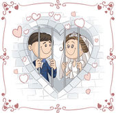 Just Married Couple in Jail Vector Cartoon — Stock Vector
