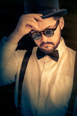 Man with Top Hat and Steampunk Glasses Retro Portrait — Stock Photo