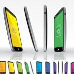 Black Smart Phone - Multiple Views — Stock Vector