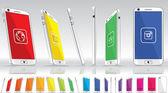 White Smart Phone - Multiple Views — Stock Vector