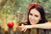 Snow White with Red Apple Fairy Tale Portrait — Stock Photo