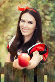 Snow White Holding a Red Apple Fairy Tale Portrait — Stock Photo