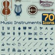 70 Music Instruments Icons Vector Set — Stock Vector #50123523