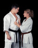 Karate Couple Passion — 图库照片