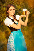 Young Bavarian Woman Holding Beer Tankard — Stock Photo