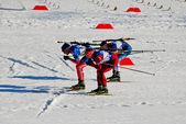 Biathlon - sportsman - hot race — Stock Photo
