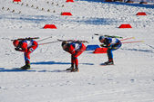 Biatlon - sporcu - sıcak yarış — Stok fotoğraf