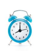 Blue old style alarm clock isolated on white background — Stock Photo