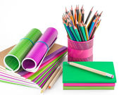 School and office supplies isolated on white — Stock Photo