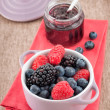 Mixed berry jam with bilberries, raspberries and blackberries — Stock Photo #29897253