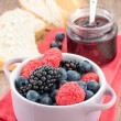 Mixed berry jam with bilberries, raspberries and blackberries — Stock Photo #29897851