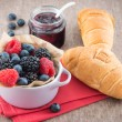 Mixed berry jam with bilberries, raspberries and blackberries — Stock Photo